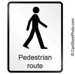Pedestrian route Information Sign - Monochrome pedestrian...