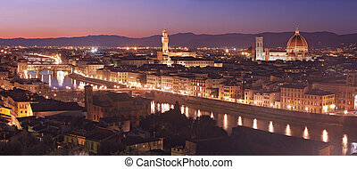 Florence - Aerial view of Florence at dusk