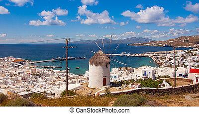 a, famosos, moinho de vento, acima, cidade, Mykonos,...