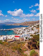 Chora, Mykonos, puerto, Plano de fondo, mar, islas