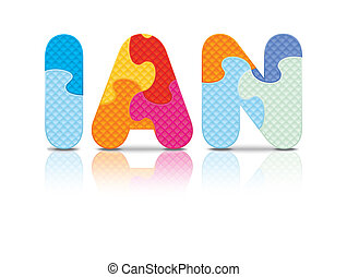 Vector IAN written with puzzle - IAN written with alphabet...