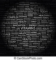 VITAMINS Background concept wordcloud illustration Print...
