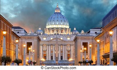 Vatican, Rome, St. Peter's Basilica, Time lapse