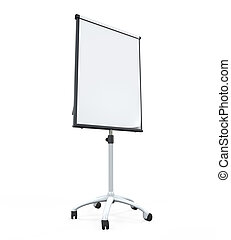 Flip Chart Paper and Board isolated on white background. 3D...