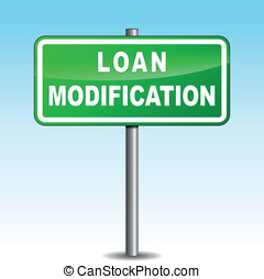Vector loan modification signpost - Vector illustration of...