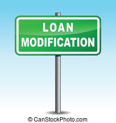 Vector loan modification signpost - Vector illustration of...