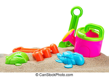 toys for sandbox isolated on white background