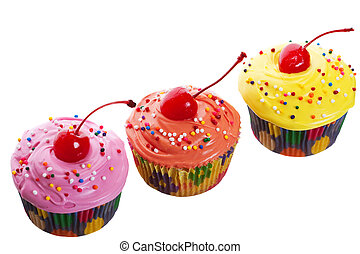 Triple Cherry Cupcakes - Three colorful, mouth-watering...
