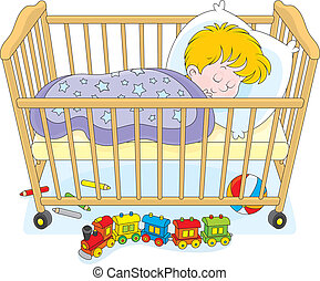 Child sleeping - Little boy sleeps in his bed in a kids...