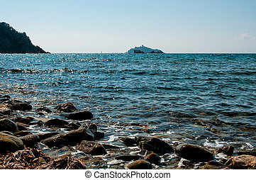 Sparviero Island view from Punta Ala, Tuscany, Italy