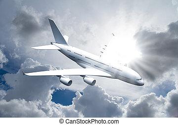 Passenger Air Plane Flying - Passenger air plane flying in...