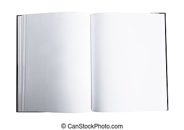 Open Book or Magazine - Open book or magazine, top view,...