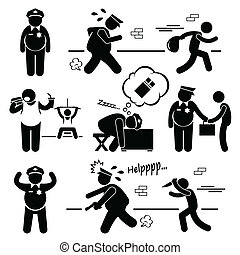 Fat Police Clipart - A set of human stick figure...