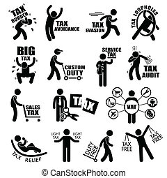 Taxpayer Tax Clipart - A set of human stick figure...
