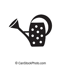 Water can - Black watering can with dots on white background