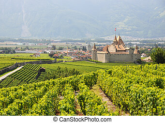 Famous castle Chateau dAigle in canton Vaud, Switzerland