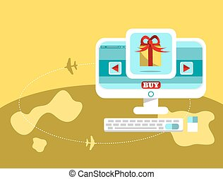 Online shoping and Shipping,Vector cartoon business