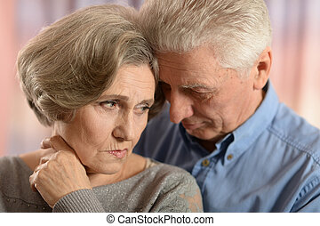 Romantic elderly couple - Romantic cute elderly couple...