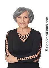 Happy senior lady  isolated on white background