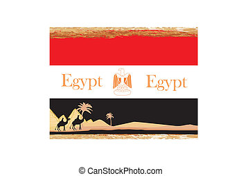 camel caravan in wild africa - flag of egypt,abstract grunge...