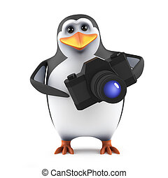 3d Penguin photographer - 3d render of a penguin with a...