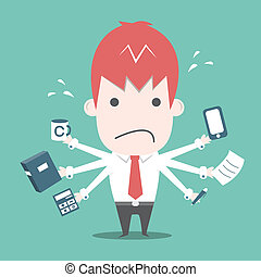Worker busy ,Vector cartoon business