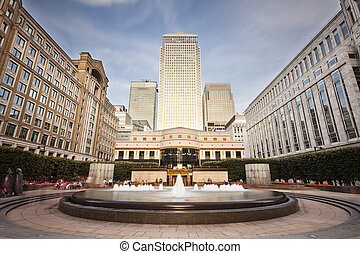 Cabot Square In London Long Exposure - Cabot Square in the...