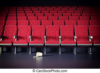 cinema interior and popcorn on the floor cretive concept