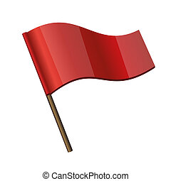 Red Curl Flag Icon on white background.  Illustration.