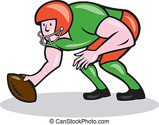 American Football Center Snap Side Cartoon - Illustration of...