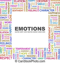 EMOTIONS. Word cloud illustration. Tag cloud concept...