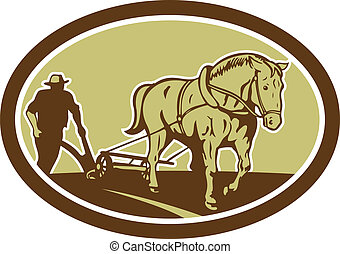 Horse and Farmer Plowing Farm Oval Retro