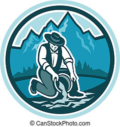Gold Prospector Miner Panning Circle Retro - Illustration of...