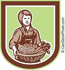 Woman Organic Farmer Farm Produce Harvest Retro -...