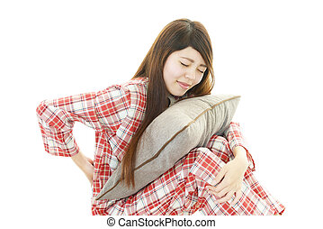 Woman with the low back pain