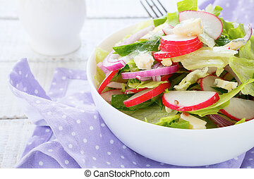 spring salad with radishes and cheese, food