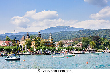 Resort Velden am Worthersee See and Lake Worth. Austria
