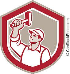 Union Worker Wielding Hammer Shield Retro