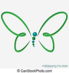 Cut out butterfly card with gems in vector format