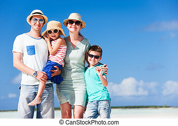 Family on summer vacation - Happy beautiful family on a...