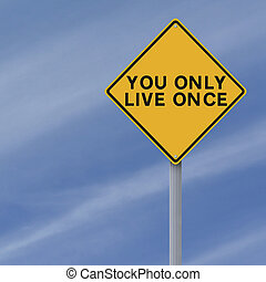 You Only Live Once  - A conceptual sign on Life
