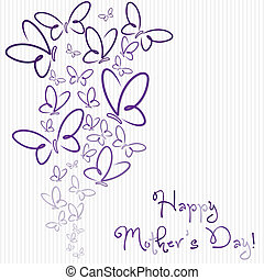 Happy Mothers Day butterfly card in vector format