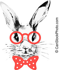 Hipster rabbit Hand drawn watercolor sketch portrait