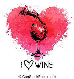 Wine vintage background with banner Hand drawn sketch...