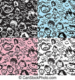 Set of seamless patterns. Cartoon faces with different...