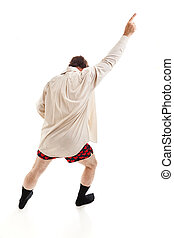 Risky Business - Middle aged man dancing around in his...