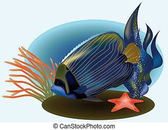 Marine life with tropical fish, vector illustration