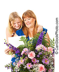 Mothers Day Gift - Mom receives flowers and a card from her...