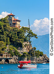 Bay of Portofino, Italy - Yacht on the sea and beautiful pld...