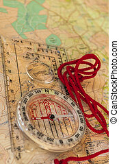Compass on Map - Compass showing direction on Topographic...